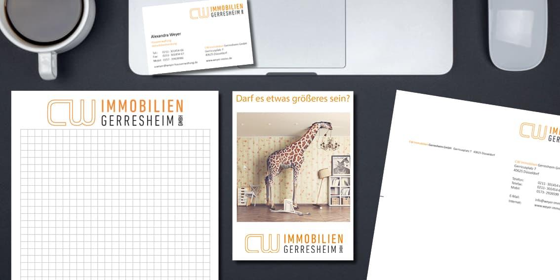 Immobilienwerbung & Immobilienmarketing - Beispiel Flyer, Visitenkarte und Blöcke