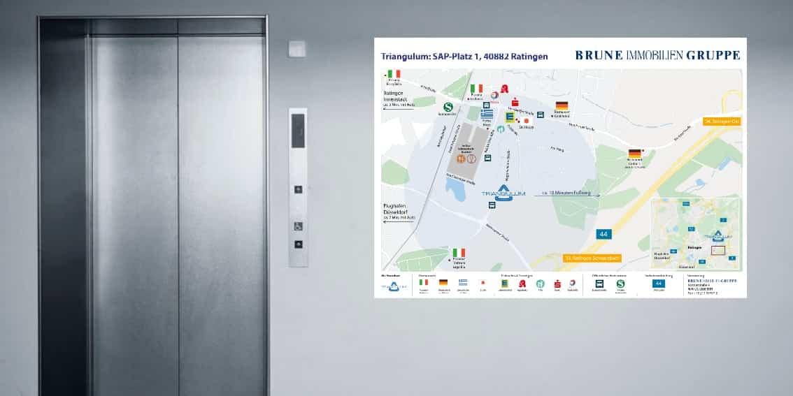 Umgebungspläne Brune Immobilien Gruppe von Kommercial, der Werbeagentur aus Düsseldorf