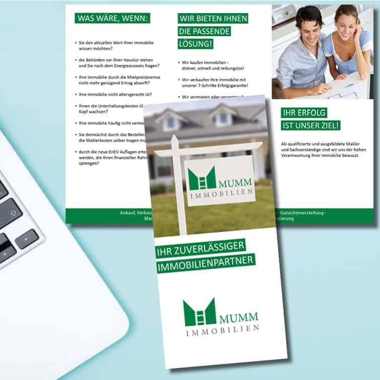 Corporate Design für Mumm Immobilien von Kommercial, der Werbeagentur aus Düsseldorf