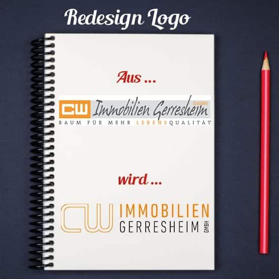 Redesign Logo für CW Immobilien von Kommercial, der Werbeagentur aus Düsseldorf