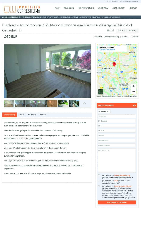 Relaunch Webseite Immobilienangebote für CW Immobilien Gerresheim von Kommercial Werbeagentur
