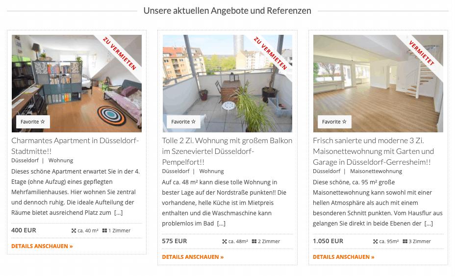 Relaunch Webseite Angebote und Referenzen für CW Immobilien Gerresheim von Kommercial Werbeagentur
