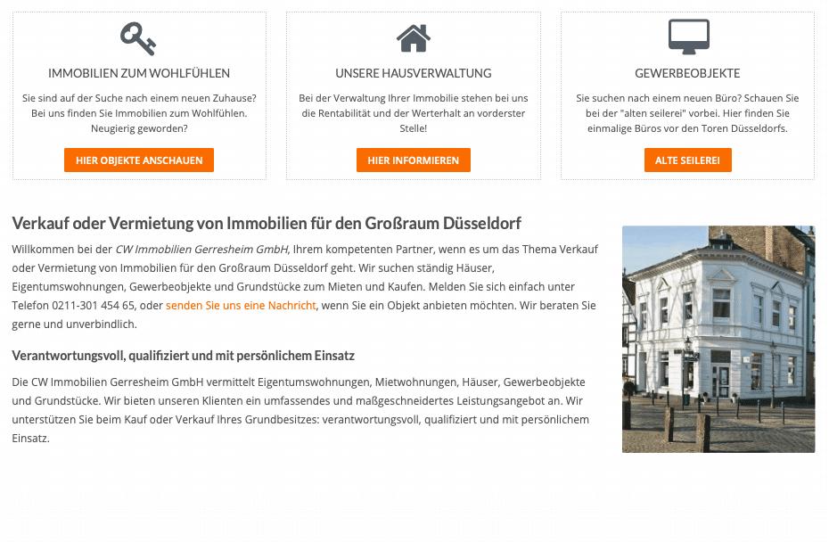 Relaunch Webseite Maklerbüro für CW Immobilien Gerresheim von Kommercial Werbeagentur