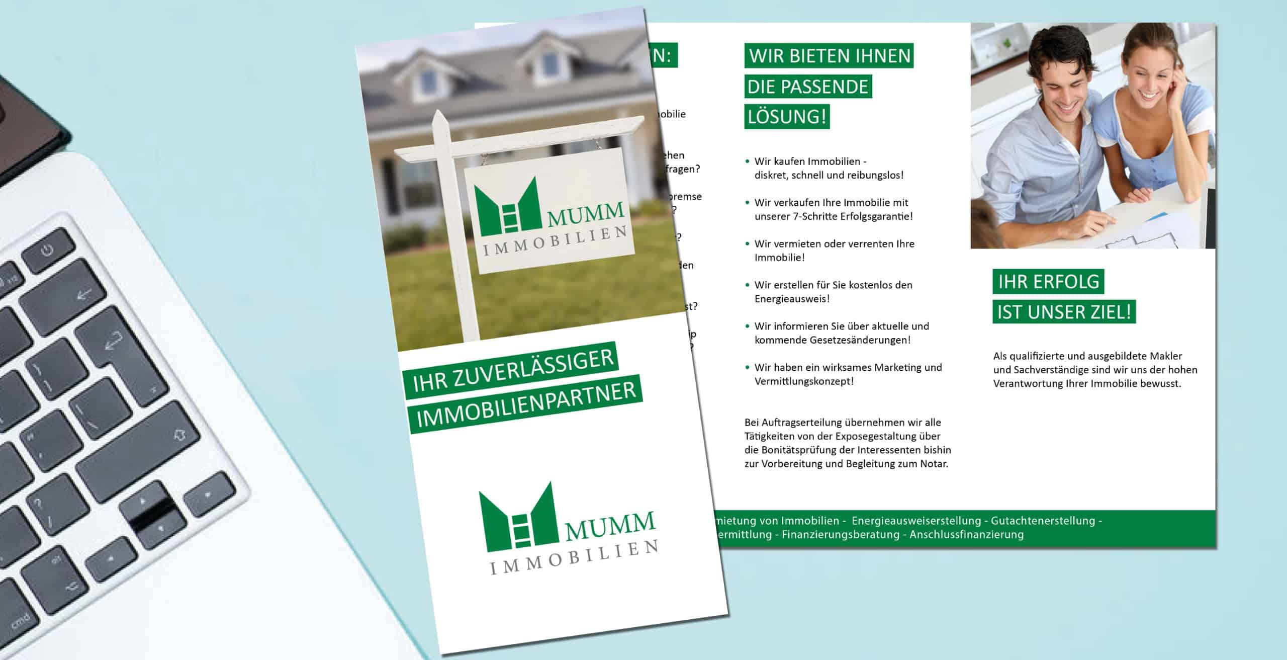 Erstellung Flyer für Immobilienunternehmen