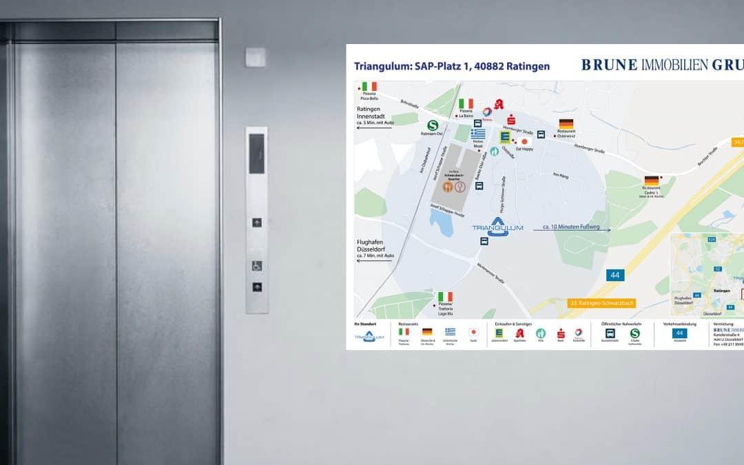 Umgebungspläne für Büroimmobilien in Düsseldorf und Umgebung
