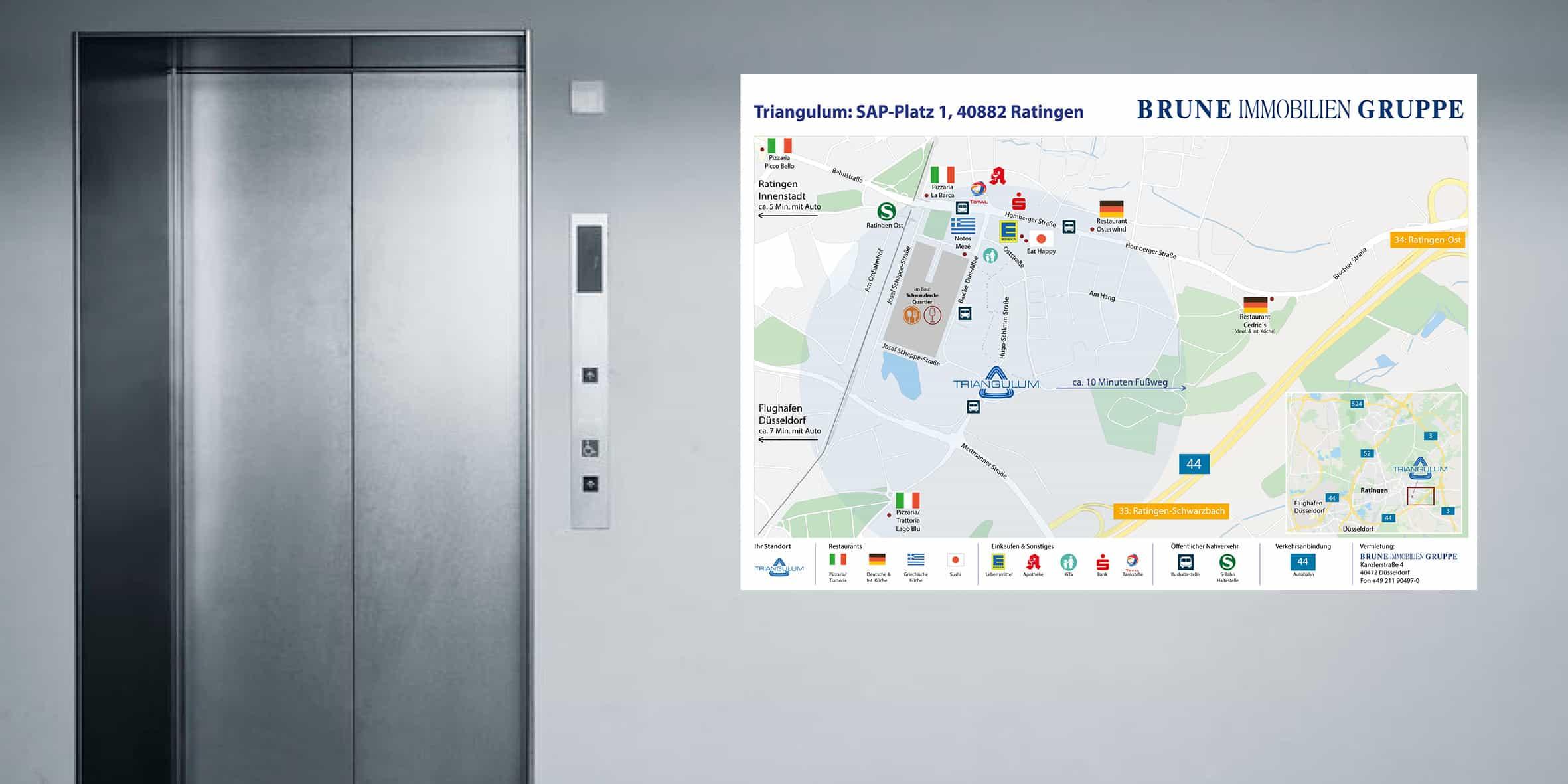 Umgebungsplan Büroimmobilien Werbeagentur Kommercial Immobilienwerbung aus Düsseldorf