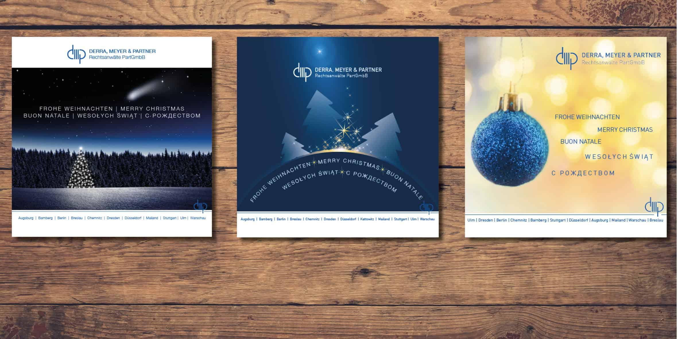 Weihnachtskarten für die Anwaltskanzlei Derra Meyer und Partner