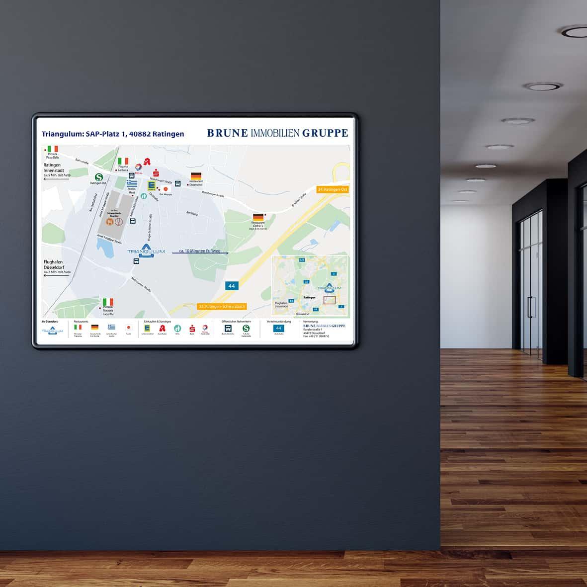 Umgebungsplan / Umgebungskarte für das Immobilien Unternehmen Brune