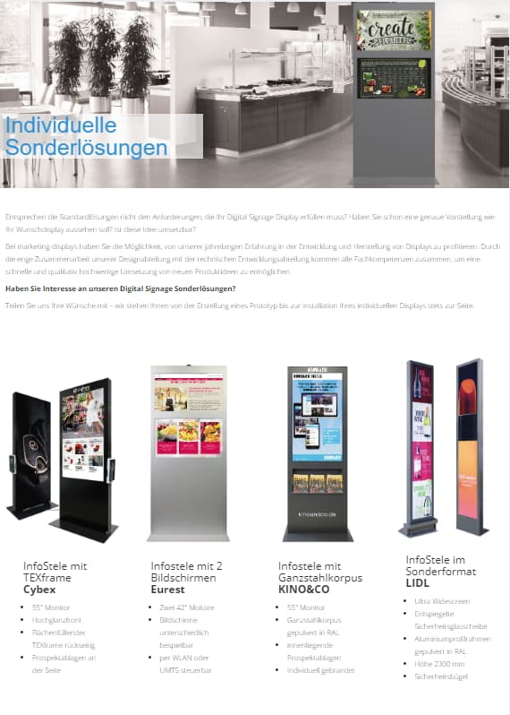 Digital Signage marketing-displays Individuelle Displaylösungen